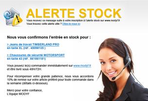 E-mail d'alerte Stock envoye par Modyf