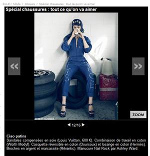 Article du magazine elle associant la combinaison en coton MODYF aux chaussures de créateurs