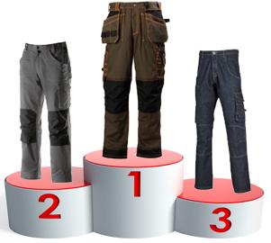 Trois pantalons adaptés aux travaux de couverture zinguerie