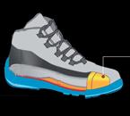 Exemple de coque dans une chaussure de sécurité