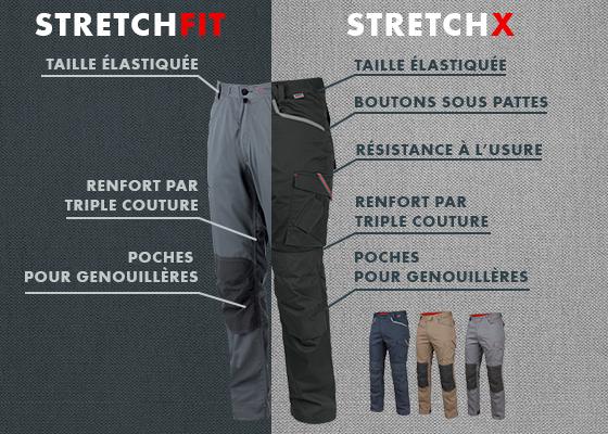 Pantalon de la gamme stretchfit et son équivalent dans la gamme stretch x