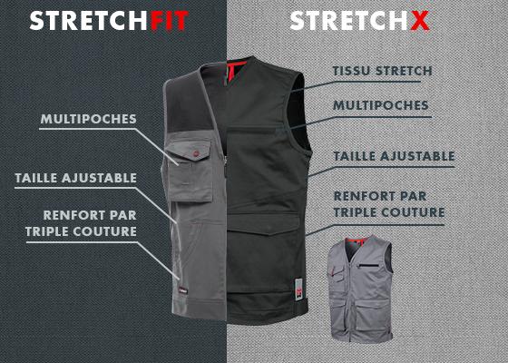 Gilet de travail Stretchfit et son équivalent dans la gamme Stretch X