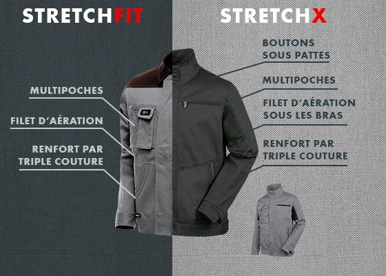Veste de travail Stretchfit et son équivalent de la gamme Stretch X