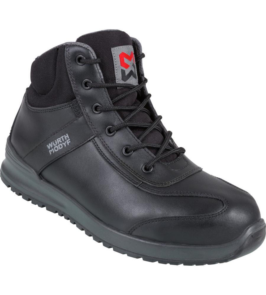Chaussures de sécurité montantes pour femmes, en cuir noir