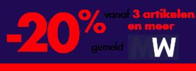 -20% vanaf 3 artikelen en meer, gemeld MW