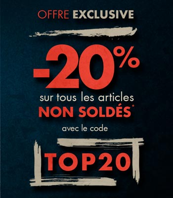 Offre exclusive : -20% sur tous les articles non soldés avec le code TOP20