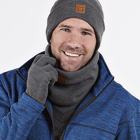 Kuscheliger Schal, Touchscreen-Handschuhe und wärmender Schal in Grau