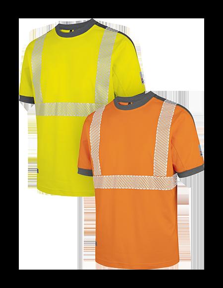 Warnschutz T-Shirts in Orange und Gelb