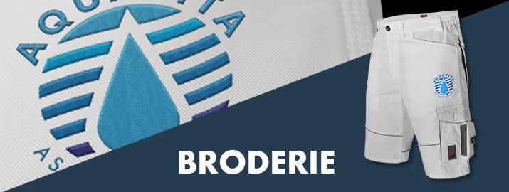 Broderie texte et logo