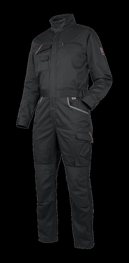 moderner overall in dunkelgrau mit verdeckten knöpfen