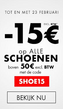 -15€ op alle schoenen boven 50€ excl BTW