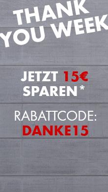 Thank you week: 15 Euro auf Alles ab Warenkorbwert von 95 Euro