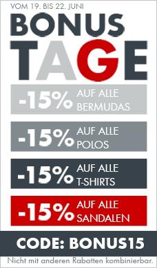 -15 % auf alle Shorts, Polos, T-Shirts & Sandalen