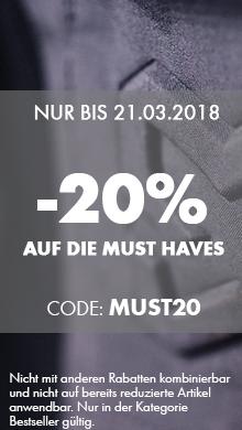 20% Rabatt auf die Must Haves