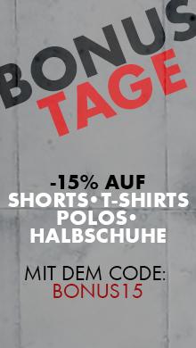 Sommer Bonustage: Jetzt 15% sparen auf Shorts, T-Shirts, Polos & Halbschuhe