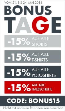 -15 % auf alle Shorts, Bunhosen, T-Shirts und Sandalen