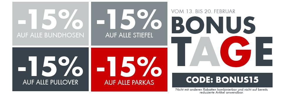 -15% auf alle Bundhosen, Stiefel, Pullover und Parkas